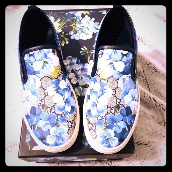 e35613776b8 Gucci Blooms GG Supreme Canvas Slip on Sneakers